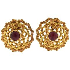 Buccellati Ruby Gold Earrings