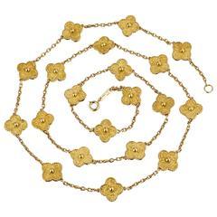 Van Cleef & Arpels Gold 20 Motif Alhambra Necklace