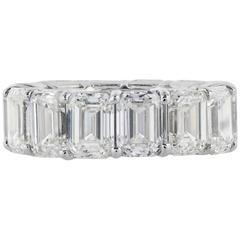 14.35 Carats Emerald Cut Diamonds Platinum Band Ring