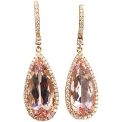 Morganite Gold Drop Earrings