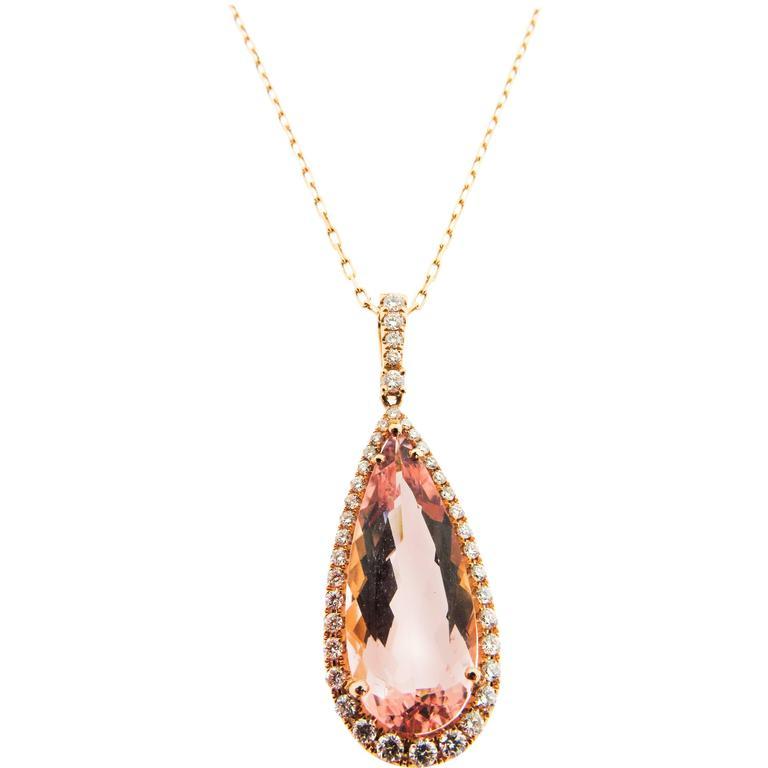 8.72 Carat Pink Morganite Diamond Gold Pendant