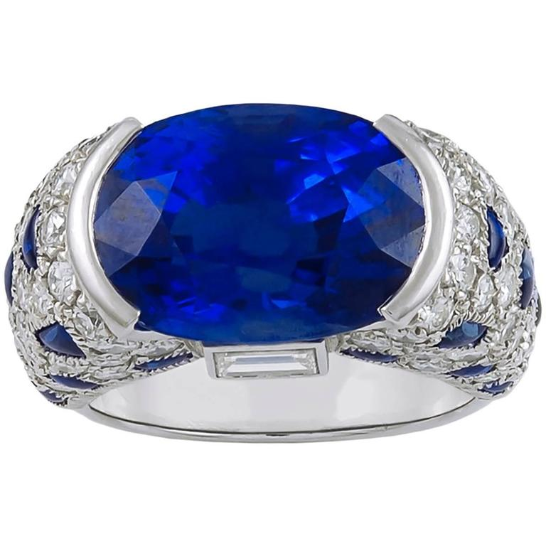 Cartier Sapphire Diamond Gold Quot Panthere Quot Ring For Sale At