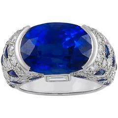 "Cartier Sapphire Diamond Gold ""Panthere"" Ring"