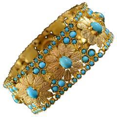 Persian Turquoise Encrusted Gold Flower Link Bracelet