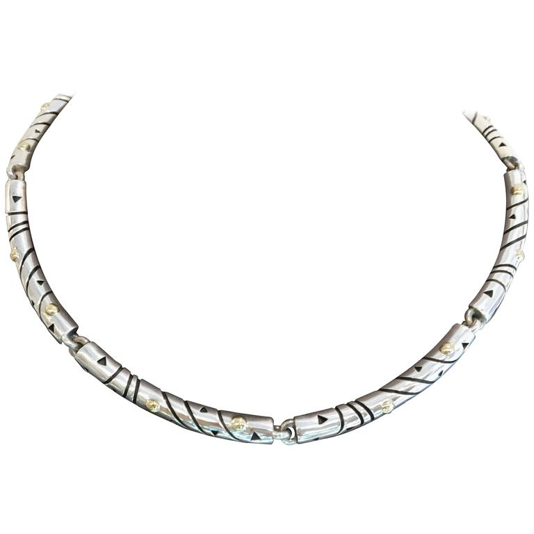 John Atencio Rare Silver Gold Nova Sectioned Necklace At 1stdibs