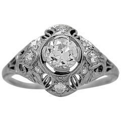 Lamberts Art Deco .74 Carats Diamonds Platinum Engagement Ring