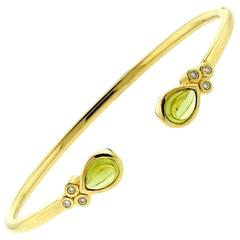 Temple St. Clair Peridot Diamond Gold Bellina Cuff Bracelet