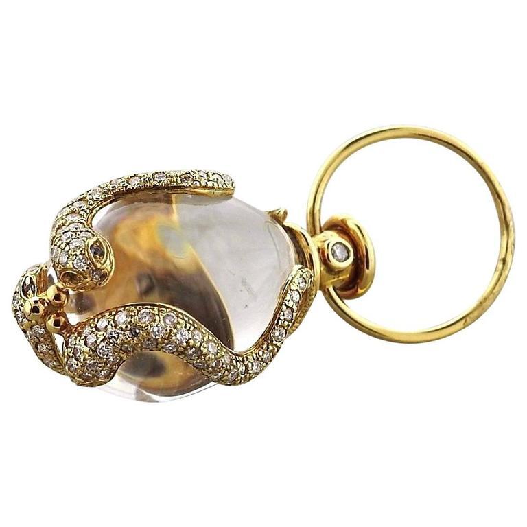 Temple St. Clair Crystal Diamond Gold Serpent Amulet Pendant