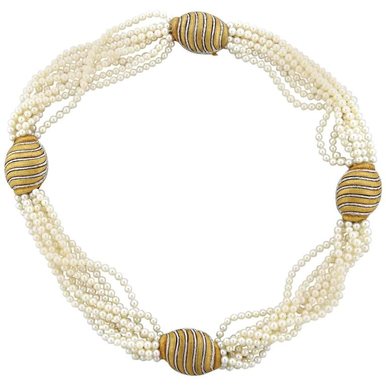 Buccellati Pearl Gold Multi Strand Necklace