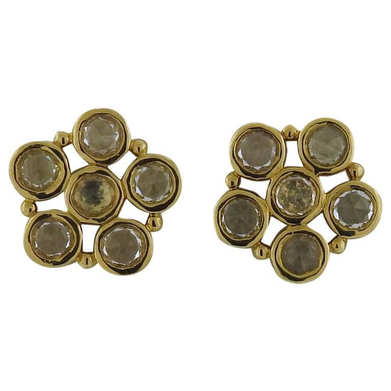 Temple St. Clair Rose Cut White Sapphire Gold Flower Earrings