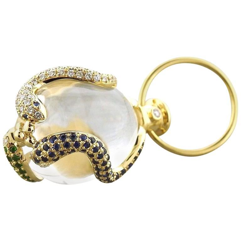 Temple St. Clair Gold Diamond Gemstone Serpent Amulet Pendant