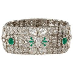 Magnificent emerald and diamond Art-Deco bracelet