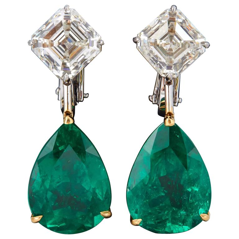 Stunning Colombian Emerald Diamond Gold Platinum Earrings 1