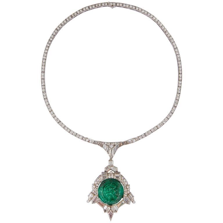Art Deco 35.00 Carats Emerald Diamond Platinum Necklace For Sale
