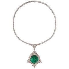 Art Deco 35.00 Carat Emerald Diamond Platinum Necklace