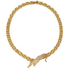Cartier Maillon Panthere 3-Row Gold Necklace with Diamond Panther