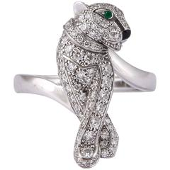 Cartier Enamel Emerald Diamond Gold Panthere de Cartier Ring