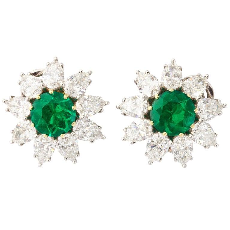 Very Fine Round Emerald Diamond Platinum Earclips