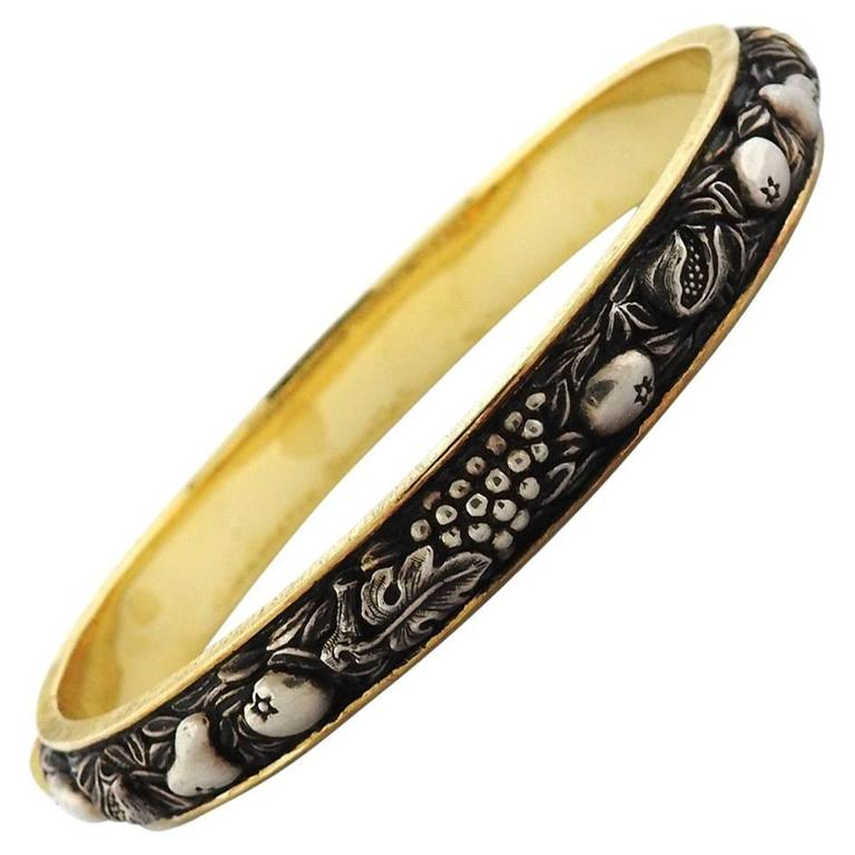 Buccellati Brunito Sterling Silver Gold Bangle Bracelet