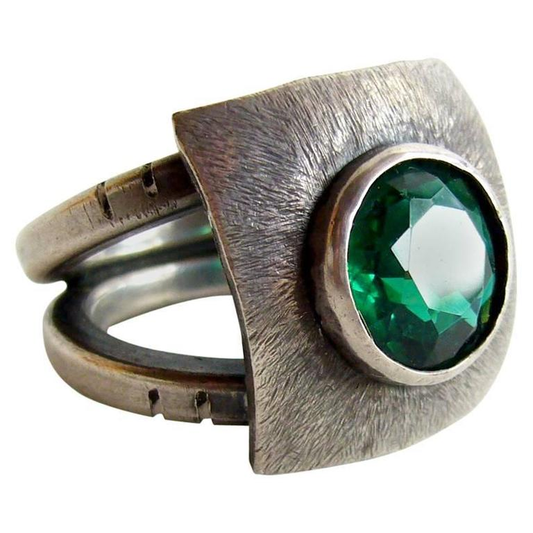 James Parker Faceted Gemstone Sterling Silver Gentleman's Ring For Sale