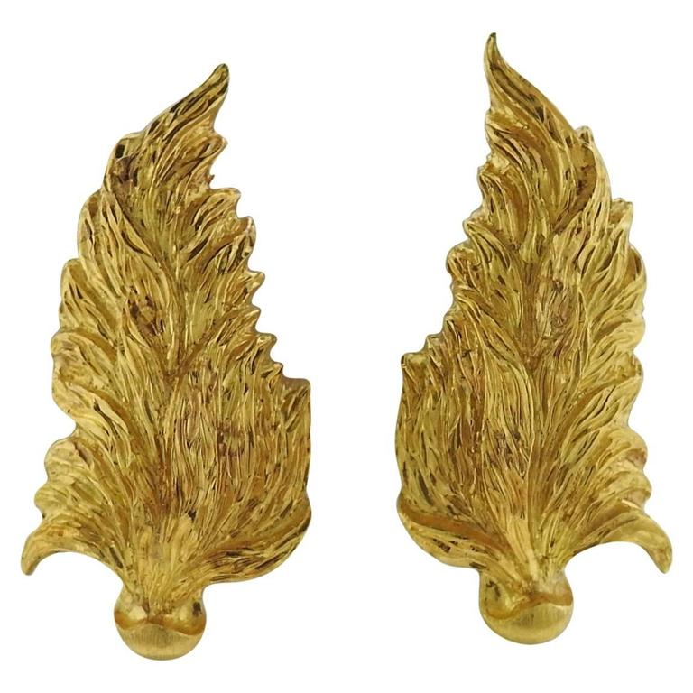 Large Buccellati Gold Leaf Motif Earrings