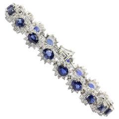 9.12 Carats Sapphires and 4.18 Carats Diamonds Gold Bracelet
