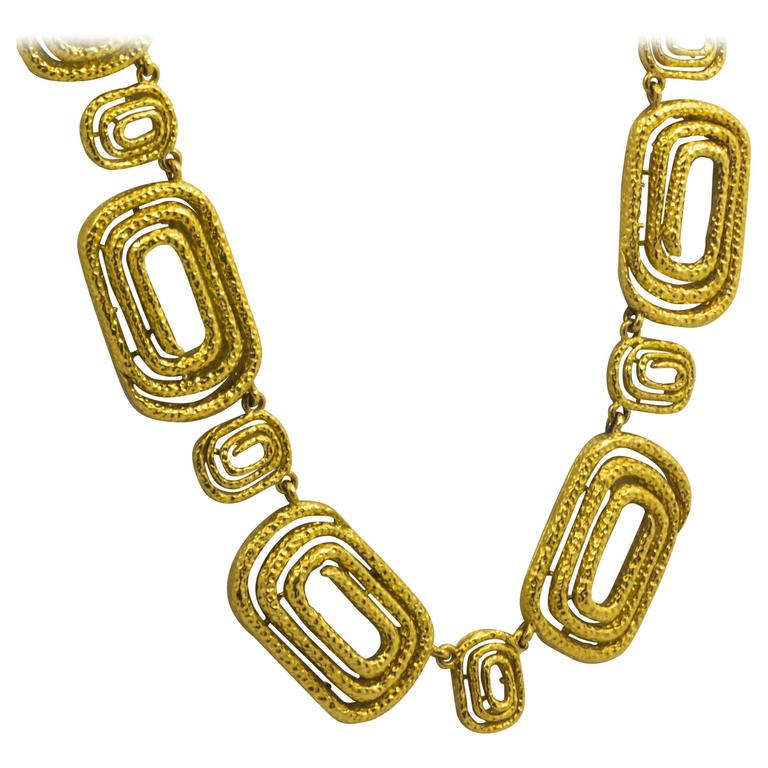 Architectural Engraved Gold Necklace 1