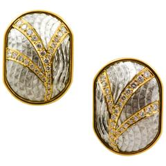 Michael Bondanza Diamond Gold Platinum Hand Engraved Clip-On Earrings