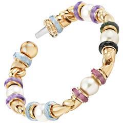 Bulgari Multi-Gemstone Pearl Gold Bracelet