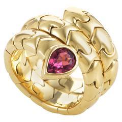 Bulgari Pink Tourmaline Gold Tubogas Snake Ring