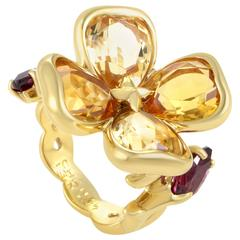 Chanel Citrine Rhodolite Garnet Gold Flower Ring