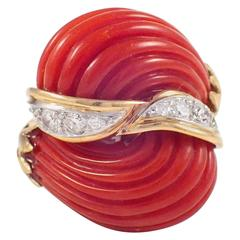 Coral Diamond Gold Dome Ring