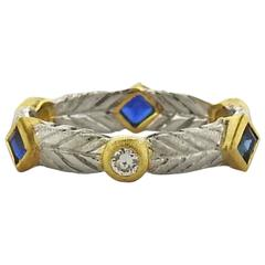 Buccellati Oro Sapphire Diamond Gold Wedding Band Ring