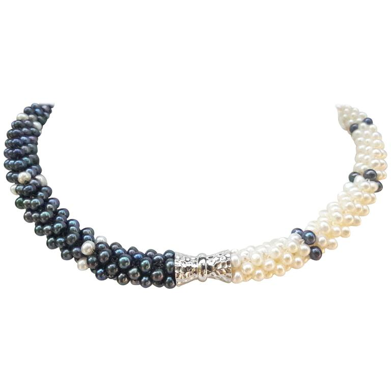 Woven 3D Rope Pearl Necklace Magnetic Clasp Double Bracelet Set