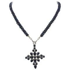 MarinaJ  Woven Iolite & Sapphire Necklace with 14 k Gold &Handmade Silver Cross