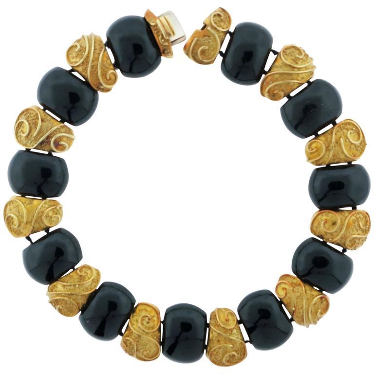 1980s Elizabeth Gage Onyx Gold Choker Necklace
