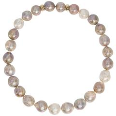 High Luster Silver Rose  Oyster Cultured Large Pearl Gold Clasp Necklace