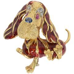 Frascarolo Enamel Gemstone Gold Basset Hound Brooch