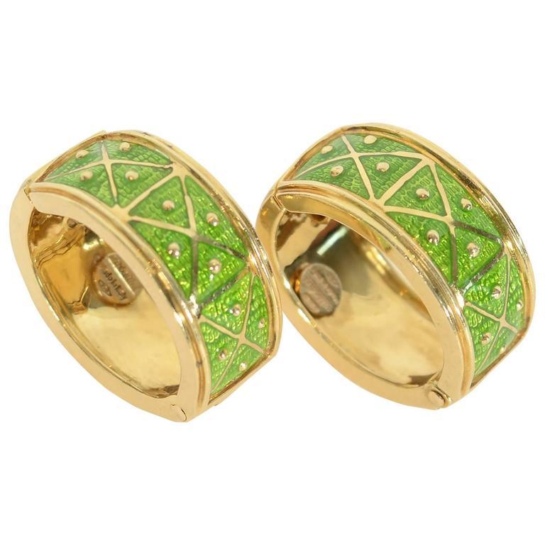 Sabbadini Enamel Gold Hoop Earrings