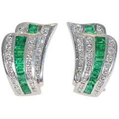 Charles Krypell Emerald Diamond Platinum Earrings