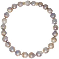 High Luster Rose Pompadour Cultured Large Pearl Gold Clasp Necklace