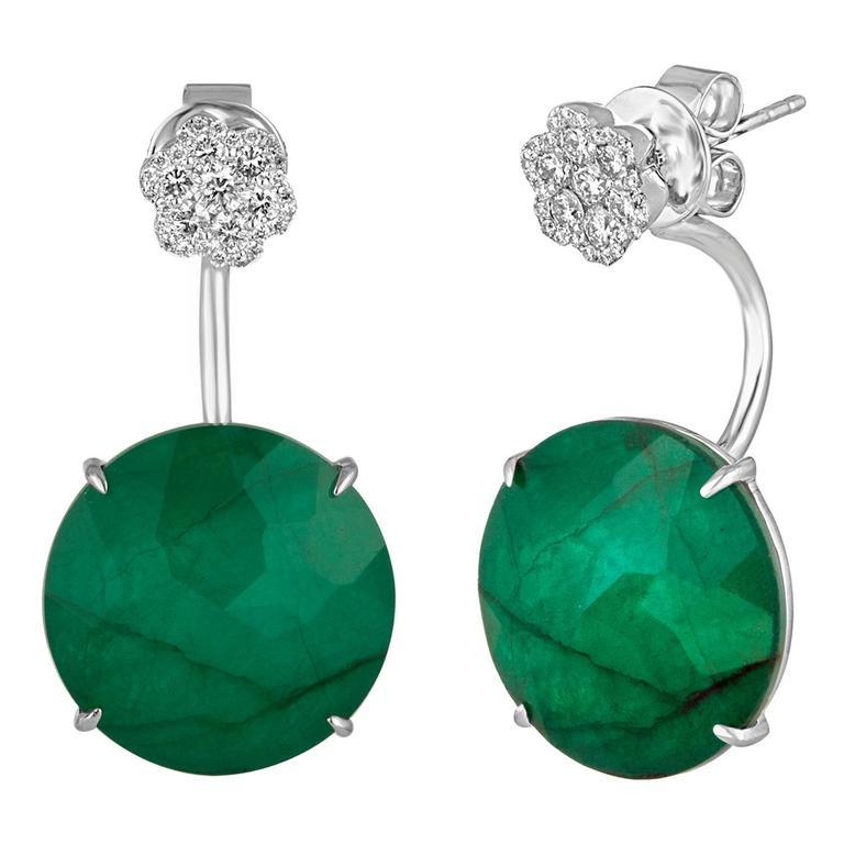 Triplet Emerald MOP Rock Crystal Diamond Gold Dangle Earrings For Sale