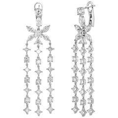 8.78 Carats Diamond Chandelier Gold Flower Earrings