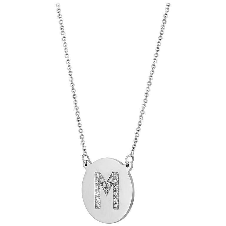 013 carats diamond initial letter m gold pendant charm necklace aloadofball Gallery