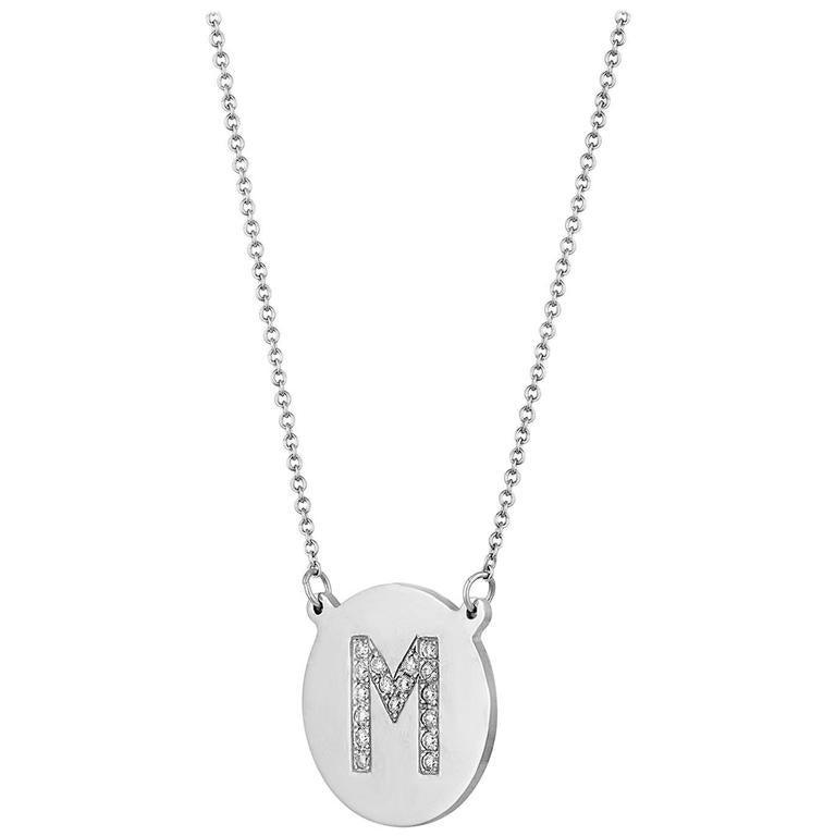 "0.13 Carats Diamond Initial Letter ""M""  Gold Pendant Charm Necklace"