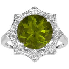 3.81 Carat Round Peridot And Diamond Gold Ring