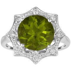 Round 3.81 Carat Peridot Diamond Gold Ring