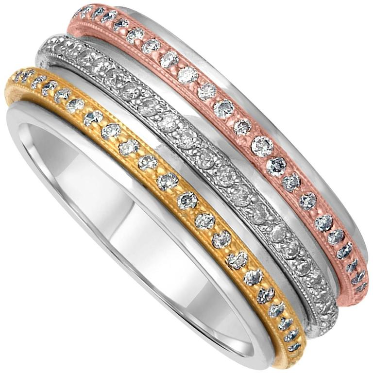 0 71 Carats Tricolor Spin Diamond Gold Wedding Band Ring For