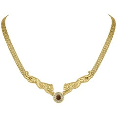 1.17 Carats Diamond Gold Panther Necklace