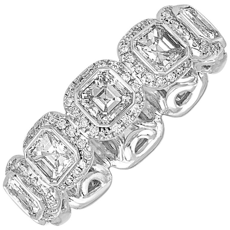 3.22 Carats Asscher Cut Eternity Diamond Platinum Band Ring